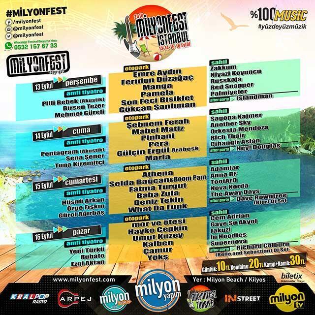 Yılın en büyük açık hava festivali Milyon Beach Kilyosta