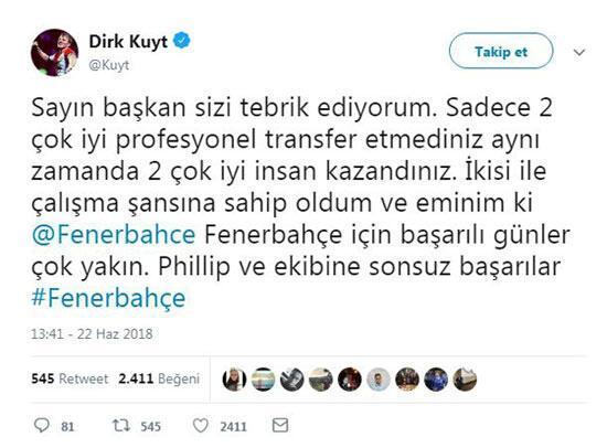 Dirk Kuyt sosyal medyadan Ali Koça seslendi