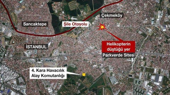Son dakika: İstanbul Çekmeköyde askeri helikopter düştü 4 asker şehit oldu