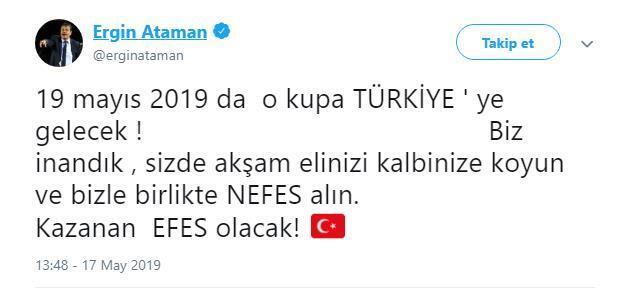 Ergin Atamandan Fenerbahçe Beko maçı öncesi paylaşım