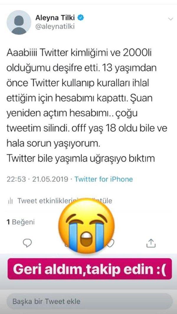 Aleyna Tilki: Twitter bile yaşımla uğraşıyor