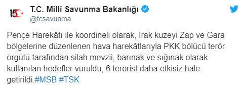 Örgüte ağır darbe 6 terörist etkisiz hale getirildi