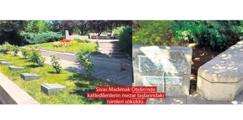 Madımak'ta katledilenlerin  mezarlarına çirkin saldırı