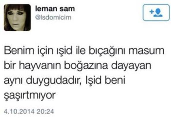 Leman Sam'dan skandal kurban tweeti