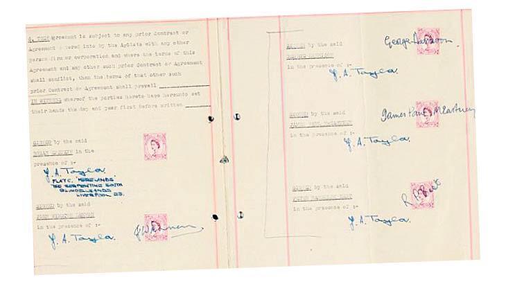 Beatles'ın ilk sözleşmesi satıldı