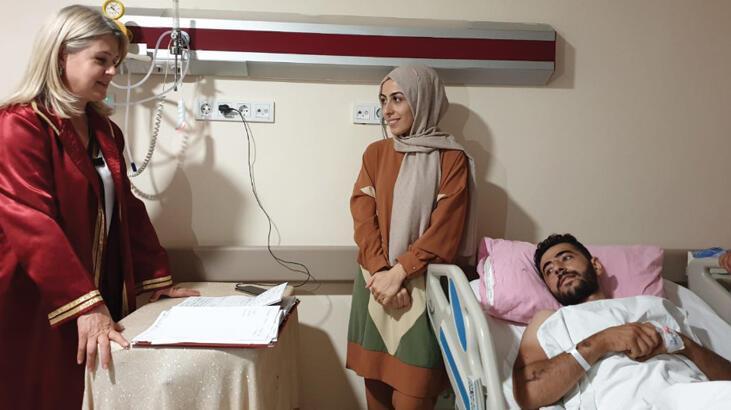 Nikahları damadın tedavi gördüğü hastanede kıyıldı