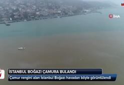Çamura bulanan İstanbul Boğazı havadan görüntülendi