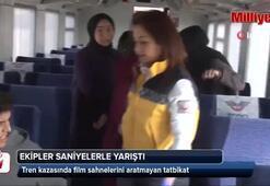 Tren kazasında film sahnelerini aratmayan tatbikat