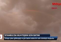 İstanbulda gökkuşağı eşliğinde muhteşem gün batımı