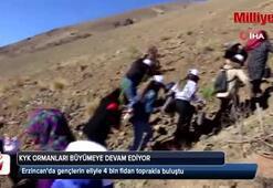 Erzincanda gençlerin eliyle 4 bin fidan toprakla buluştu