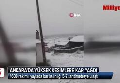 Ankara'nın yüksek kesimlerine kar yağdı