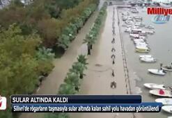 Silivride sular altında kalan sahil yolu havadan görüntülendi