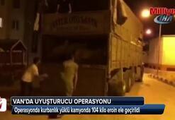 Kurbanlık yüklü kamyonda 104 kilo eroin ele geçirildi