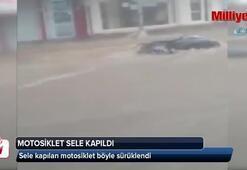 Aydın'da motosiklet sele kapıldı