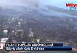 Atina'daki yangın felaketi havadan görüntülendi