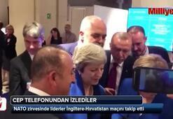 NATO zirvesinde liderler Hırvatistan-İngiltere maçını takip etti