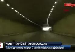 Yapımı devam eden tünel projesi havadan görüntülendi