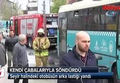 Fatihte seyir halindeki otobüsün arka lastiği yandı