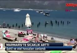 Sıcaklar arttı sahil ve otel havuzları canlandı