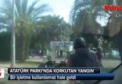 Antalya Atatürk Parkında korkutan yangın