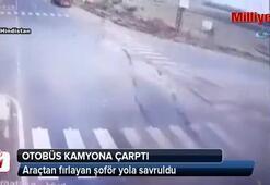 Otobüs kamyona çarptı: 1 ölü, 10 yaralı