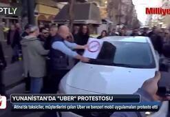 Yunanistanda Uber protestosu