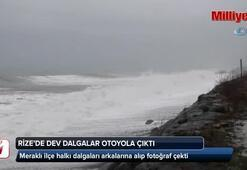 Rize'de dev dalgalar otoyola çıktı