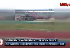 Uçak şehitlerinin cenazeleri olay yerinden alındı