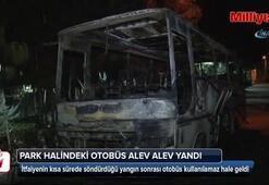 Ümraniye'de park halindeki otobüs alev alev yandı