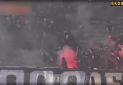 Partizan - Kızılyıldız derbisinde saha savaş alanına döndü