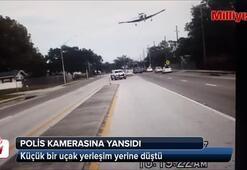 ABDde şehir içine düşen uçak polis kamerasında