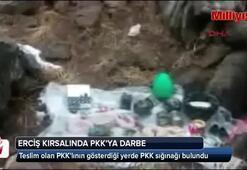 Teslim olan PKKlının gösterdiği yerde PKK sığınağı bulundu