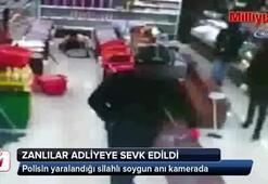 Ümraniye'de polisin yaralandığı silahlı soygun anı kamerada