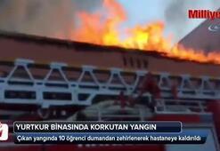 Yurtkur binasında korkutan yangın