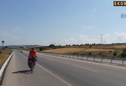 Protez bacağıyla bin kilometre pedal çevirdi
