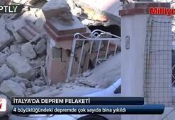 İtalyada 4 büyüklüğündeki depremde çok sayıda bina yıkıldı