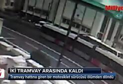 İki tramvay arasında kalarak ölümden döndü