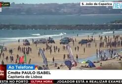 Portekizde feci kaza Uçak sahile acil iniş yaptı...