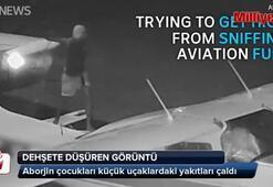 Aborjin çocukları küçük uçaklardaki yakıtları çaldı