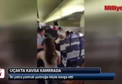 Uçakta yeni bir kavga Kavgacılar kadın yolcuları ezdi