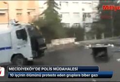 Polisten Mecidiyeköyde gazlı müdahale