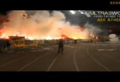 AEK taraftarı Atinayı adeta yaktı