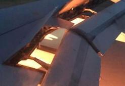 Suudi Arabistan takımını taşıyan uçağın motoru yandı
