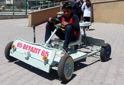 Ortaokul öğrencisi atık malzemelerden go kart aracı yaptı