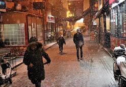 Ispartada kent merkezinde kar yağışı başladı