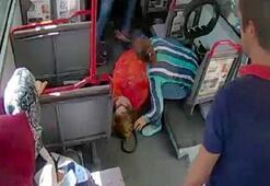 Otobüste korku dolu anlar Ne olduğunu anlayınca hemen gaza bastı...
