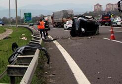 TEMde takla atan otomobildeki 1 kişi öldü, 4 kişi yaralandı