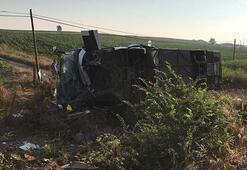 Son dakika: Yolcu otobüsü devrildi: Ölü ve çok sayıda yaralı var..