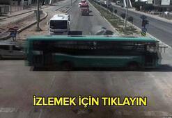 Kırmızı ışıkta geçti, otobüsü biçti