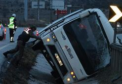 Beşiktaşlı taraftarları taşıyan otobüs kaza yaptı: 7 yaralı